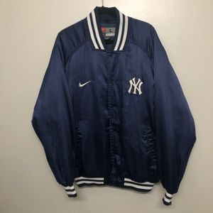 Nike New York yankees bomber jacket vtg 90s blue
